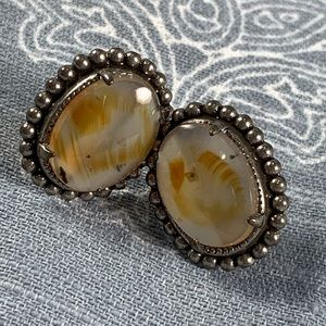 Jewelry - Vintage screw back cabachon agate earrings